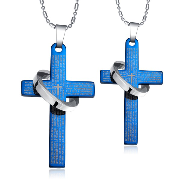 Fashion 3A Zircon Titanium steel Couples Necklace Valentine'S Day Gift