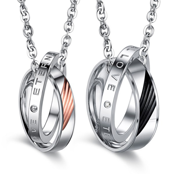 3A Zircon Fashion Titanium steel Couples Necklace Valentine'S Day Gift