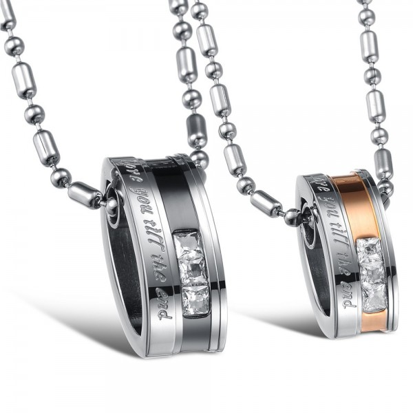 3A Zircon Titanium steel Fashion Couples Necklace Valentine'S Day Gift