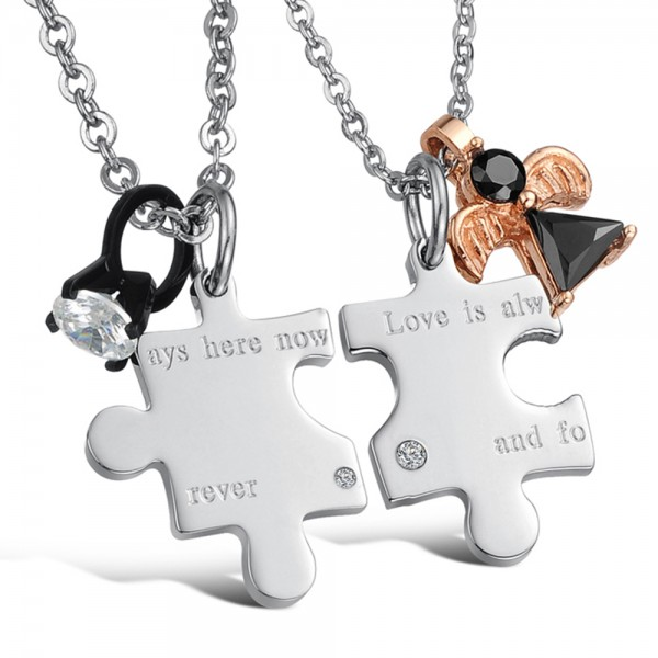 Lovers 3A Zircon Titanium steel Couples Necklace Valentine'S Day Gift