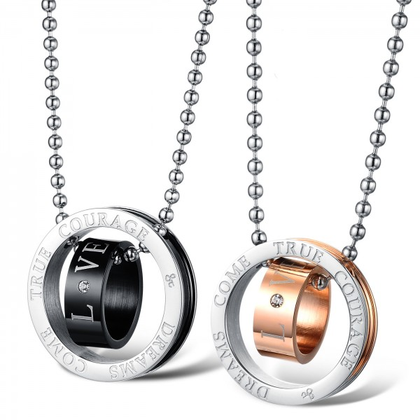3A Zircon Titanium steel Couples Necklace Romantic Lovers Valentine'S Day Gift