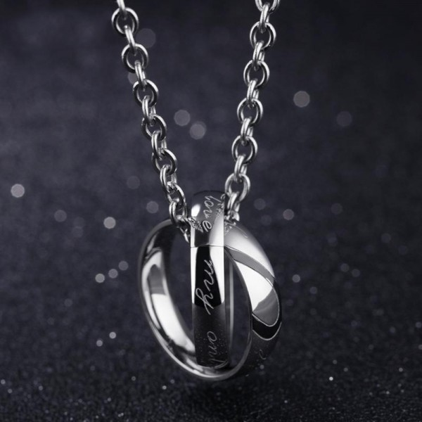 3A Zircon Personality Design Titanium steel Couples Necklace Valentine'S Day Gift
