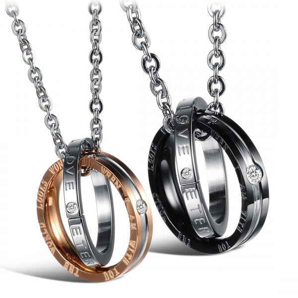 Personality 3A Zircon Titanium steel Couples Necklace Valentine'S Day Gift