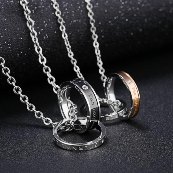 3A Zircon Personality Titanium steel Couples Necklace Valentine'S Day Gift