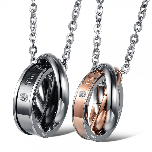 3A Zircon Titanium steel Personality Couples Necklace Valentine'S Day Gift