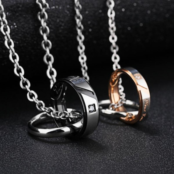 3A Zircon Titanium steel Double Rings Couples Necklace Valentine'S Day Gift
