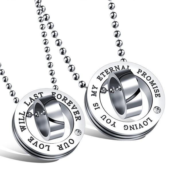 """Love"" 3A Zircon Titanium steel Couples Necklace Valentine'S Day Gift"