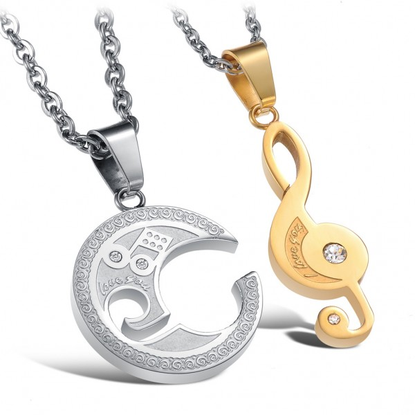 Music Notation 3A Zircon Titanium steel Couples Necklace Valentine'S Day Gift