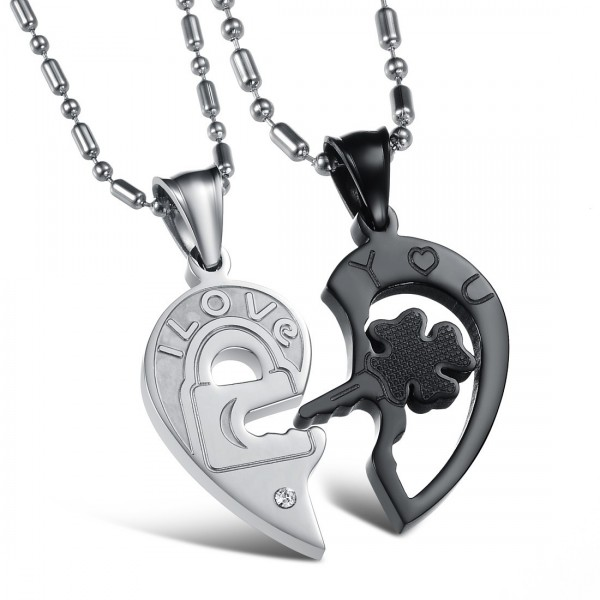 Heart 3A Zircon Titanium steel Couples Necklace Valentine'S Day Gift