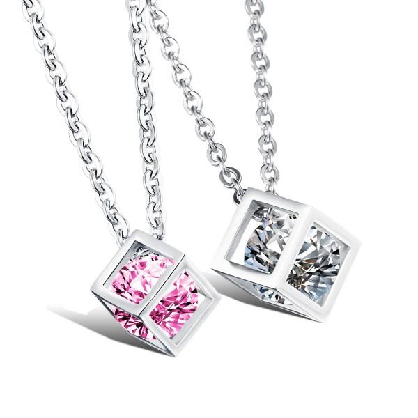 Rhinestone Titanium steel Couples Necklace Romantic Valentine'S Day Gift