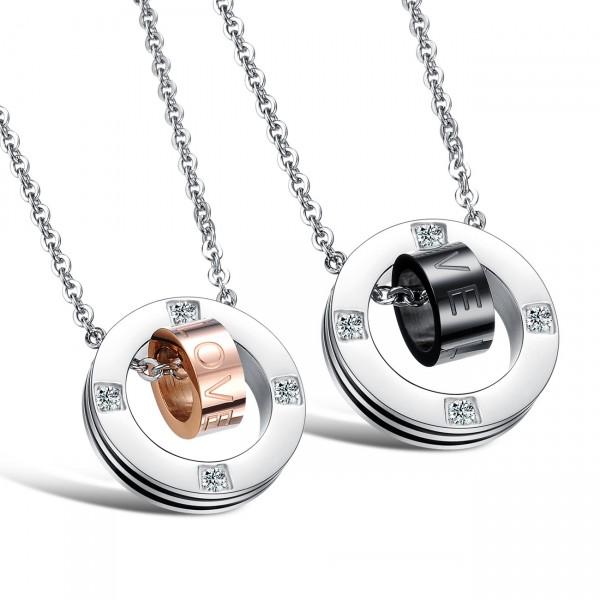 Rhinestone Romantic Lovers Titanium steel Couples Necklace Valentine'S Day Gift