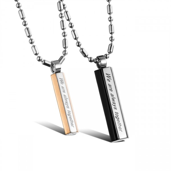 Rhinestone Titanium steel Romantic Lovers Couples Necklace Valentine'S Day Gift