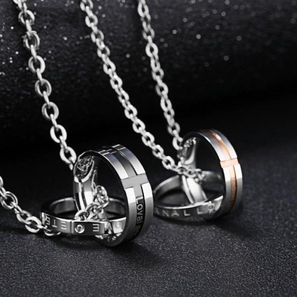 Rhinestone Titanium steel Fashion Couples Necklace Valentine'S Day Gift