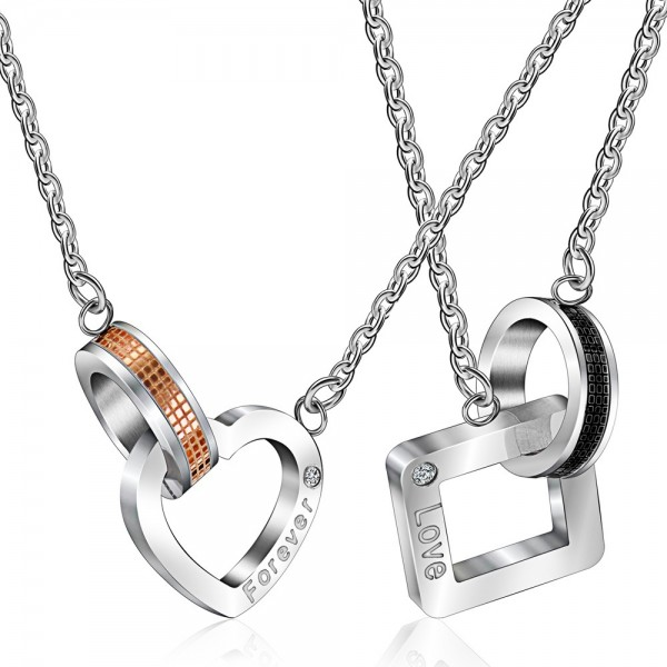 Rhinestone Stylish Titanium steel Couples Necklace Valentine'S Day Gift