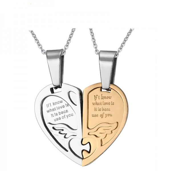 Titanium steel Couples Necklace Valentine'S Day Gift Multiple Color Selectable