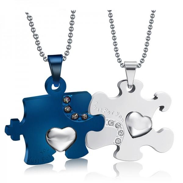 Rhinestone Titanium steel Stylish Couples Necklace Valentine'S Day Gift
