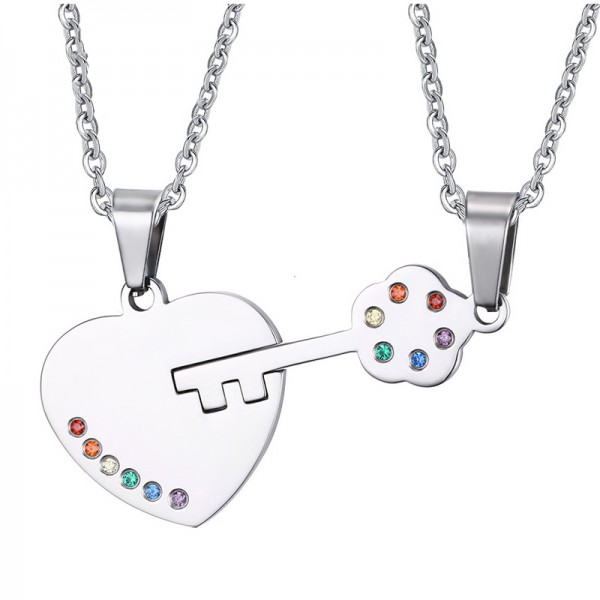 Rhinestone Gays Titanium steel Couples Necklace Valentine'S Day Gift