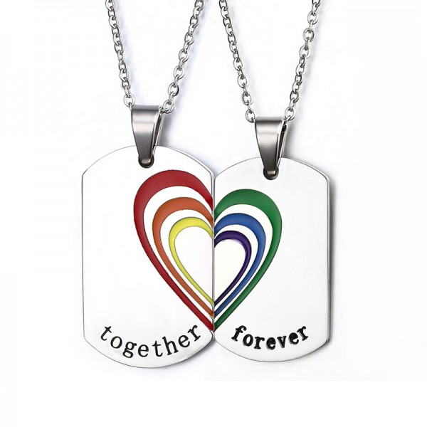 Rhinestone Titanium steel Gays Couples Necklace Valentine'S Day Gift