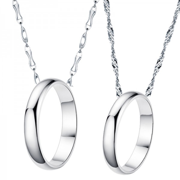 Creative Gift 999 Sterling Silver Necklaces For Couples