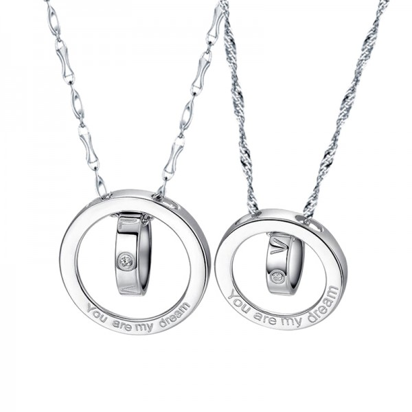 Creative Couple Necklaces With Love Letter