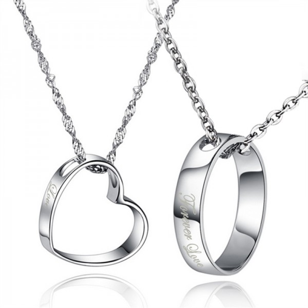 Round And Heart Simple Design Engraved Lovers Necklacess