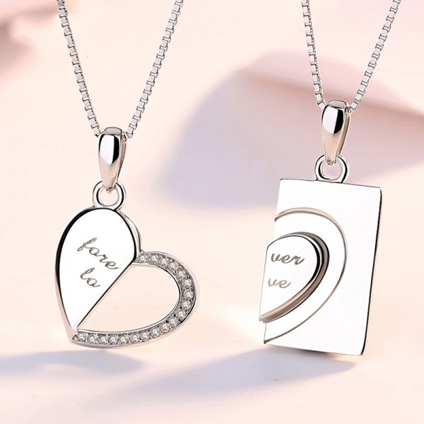 Romantic Heart Shaped Lovers Pendants Couple Necklaces