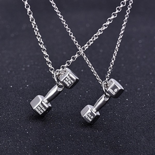 Bodybuilding Dumbbell Shaped Lovers Pendants Couple Necklaces