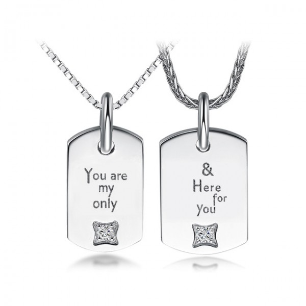 S925 Silver Valentine'S Day Creative Lettering Necklacess Gifts For Couples