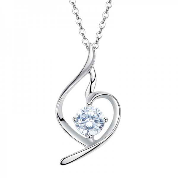 Romantic 925 Silver Rhinestone Ladies Necklace Pendant