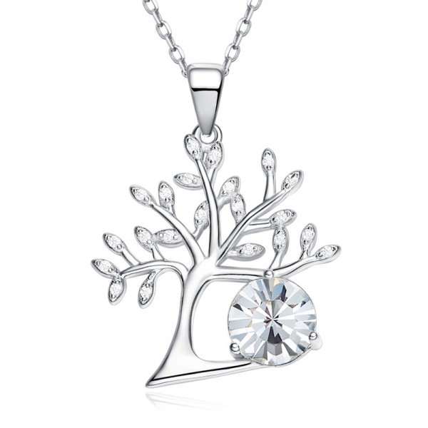 925 Silver Romantic Rhinestone Ladies' Necklace With Chain