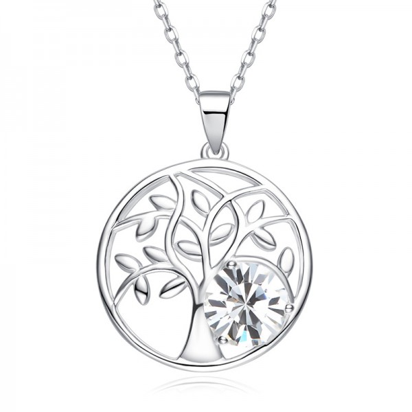 925 Silver Rhinestone Romantic Ladies' Necklace With Chain