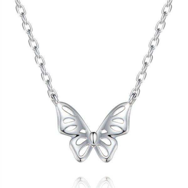 Fashion 925 Silver Butterfly Ladies' Necklace With Chain