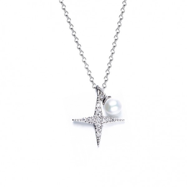925 Silver Pearl & Rhinestone Ladies' Necklace With Chain