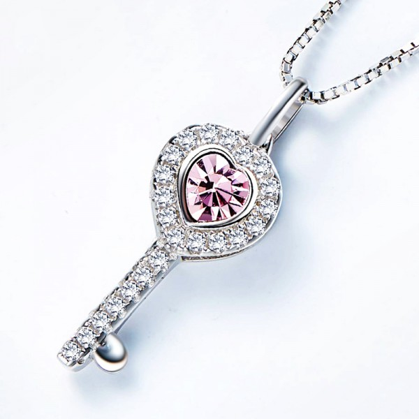 925 Silver Personality Design Rhinestone Ladies' Necklace With Chain