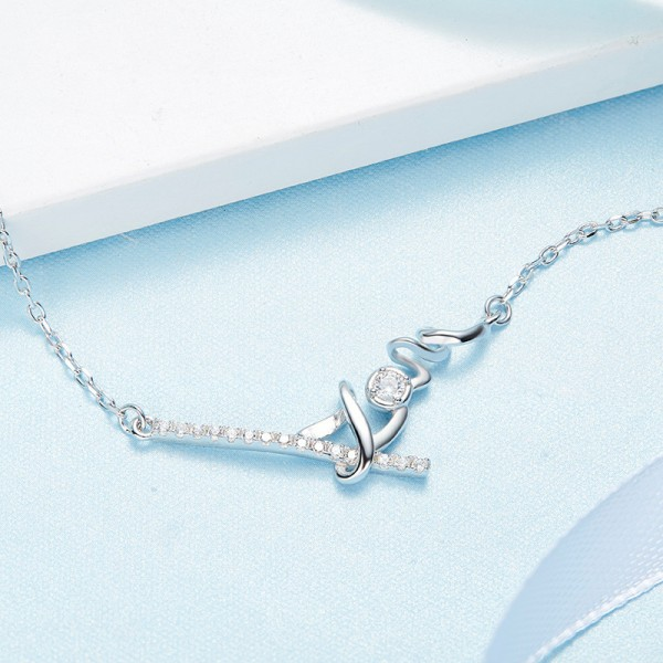925 Silver Rhinestone Personality Design Ladies' Necklace With Chain