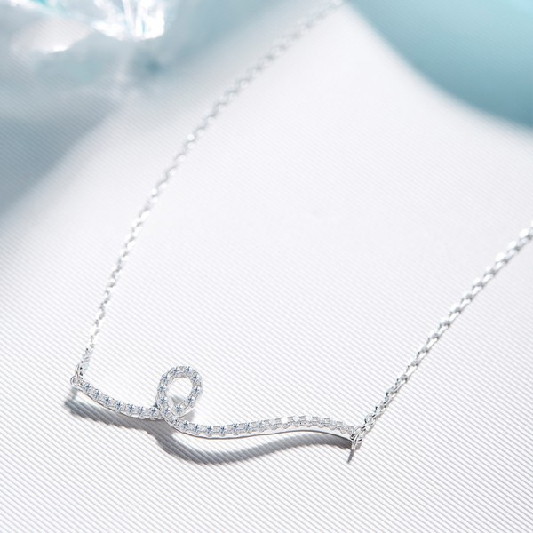 925 Silver Valentine'S Day Gift Rhinestone Ladies' Necklace With Chain