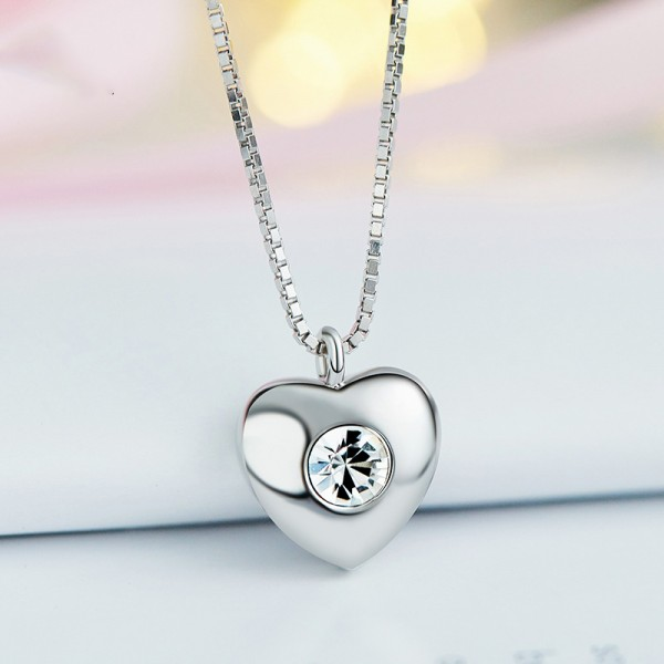925 Silver Rhinestone Ladies' Valentine'S Day Gift Necklace With Chain