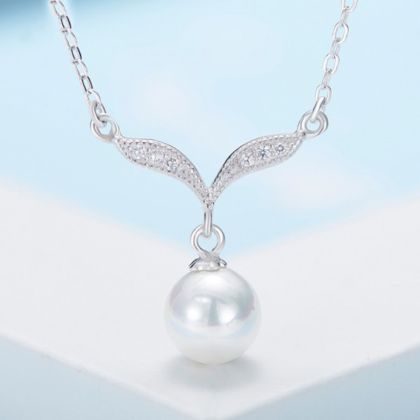 925 Silver Rhinestone Chic Ladies' Necklace With Chain