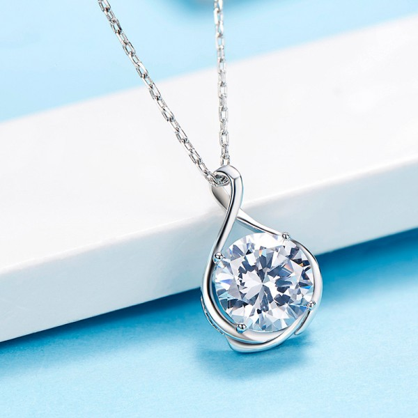 925 Silver Rhinestone Vogue Ladies' Necklace With Chain