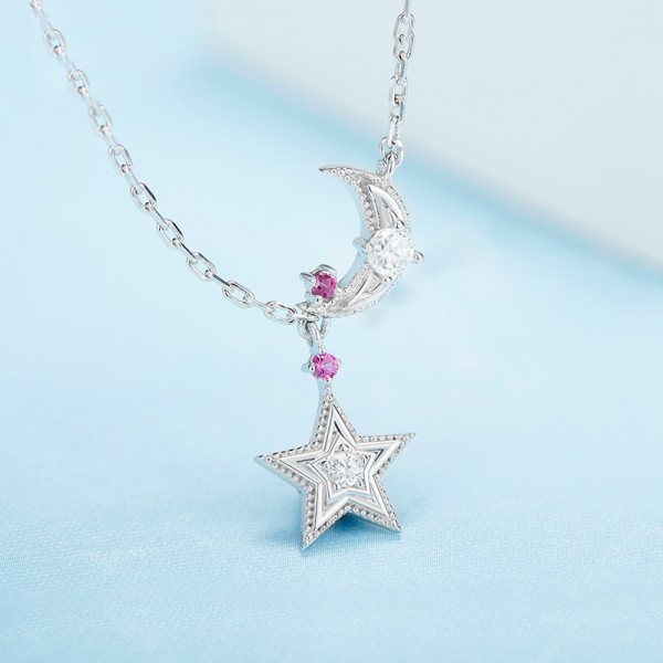 925 Silver Rhinestone Ladies' Vogue Necklace With Chain