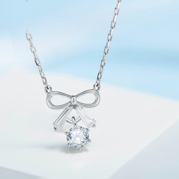 925 Silver Rhinestone Exquisite Ladies' Necklace With Chain