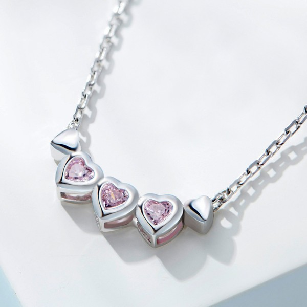 925 Silver Rhinestone Ladies' Exquisite Necklace With Chain