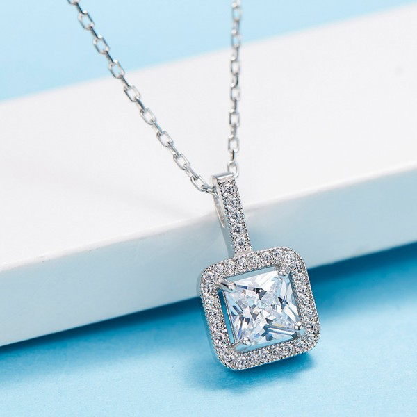 Personality Design 925 Silver Rhinestone Ladies' Necklace With Chain