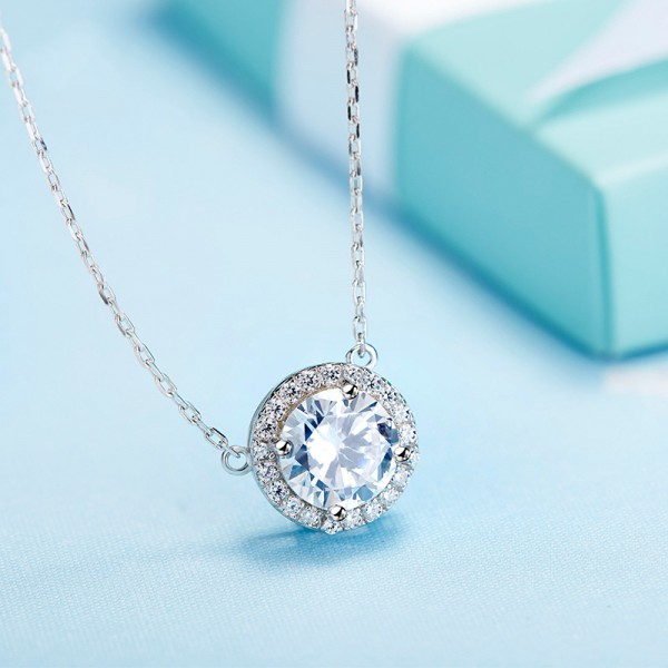 925 Silver Rhinestone Ladies' Personality Design Necklace With Chain