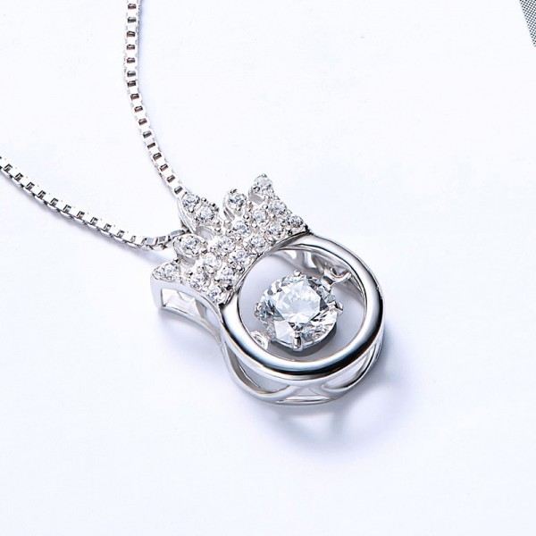Silver Fashion Rhinestone Ladies' Necklace With Chain