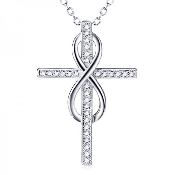 Stylish Silver 3A Zircon Ladies' Necklace With Chain