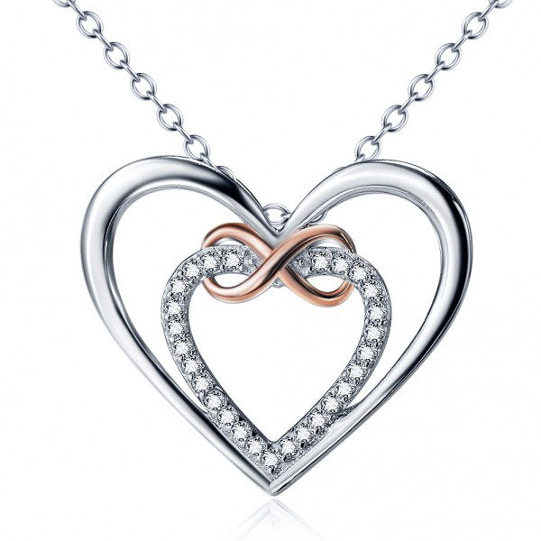 Silver 3A Zircon Ladies' Stylish Necklace With Chain