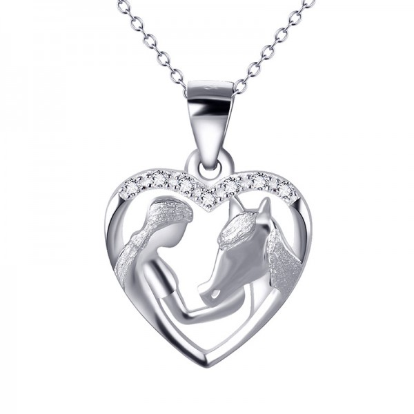 Valentine'S Day Present Silver 3A Zircon Ladies' Necklace With Chain