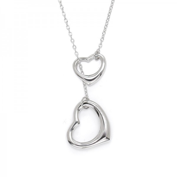 Valentine'S Day Gift Silver Double Hearts Ladies' Necklace With Chain