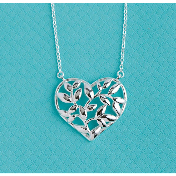 Silver Valentine'S Day Gift Tree In Heart Ladies' Necklace With Chain